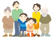 Ευτυχής τύπος οικογενειακών γονέων, παιδιών και παππούδων και γιαγιάδων Β απεικόνιση αποθεμάτων