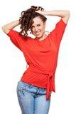 ευτυχής υγιής γυναίκα Στοκ εικόνα με δικαίωμα ελεύθερης χρήσης