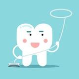 Ευτυχής υγιής χαρακτήρας δοντιών κινούμενων σχεδίων με, οδοντική διανυσματική απεικόνιση για τα παιδιά Στοκ εικόνα με δικαίωμα ελεύθερης χρήσης