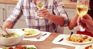 Ευτυχής φίλος που έχει το μεσημεριανό γεύμα και που πίνει το κρασί φιλμ μικρού μήκους