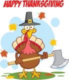 Ευτυχής χαιρετισμός ημέρας των ευχαριστιών με την Τουρκία με το καπέλο και το τσεκούρι προσκυνητών διανυσματική απεικόνιση