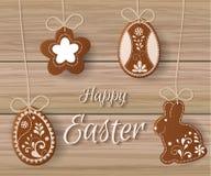 Ευτυχής χαιρετισμός Πάσχας, μελόψωμο υπό μορφή αυγών Διακοπές άνοιξη, υπόβαθρο Πάσχας Ελεύθερη απεικόνιση δικαιώματος