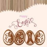 Ευτυχής χαιρετισμός Πάσχας, μελόψωμο υπό μορφή αυγών Διακοπές άνοιξη, υπόβαθρο Πάσχας Στοκ Φωτογραφία