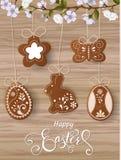 Ευτυχής χαιρετισμός Πάσχας, μελόψωμο υπό μορφή αυγών Διακοπές άνοιξη, υπόβαθρο Πάσχας Στοκ φωτογραφία με δικαίωμα ελεύθερης χρήσης