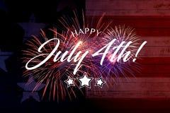 Ευτυχής χαιρετισμός στις 4 Ιουλίου με το κόκκινο και μπλε υπόβαθρο στοκ εικόνες