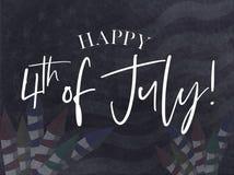 Ευτυχής χαιρετισμός στις 4 Ιουλίου με το μαύρο υπόβαθρο στοκ φωτογραφία