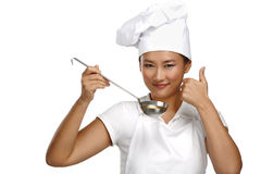 Ευτυχής χαμογελώντας ασιατικός κινεζικός αρχιμάγειρας γυναικών στην εργασία Στοκ Εικόνα
