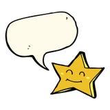 ευτυχής χαρακτήρας αστεριών κινούμενων σχεδίων με τη λεκτική φυσαλίδα Στοκ Εικόνα
