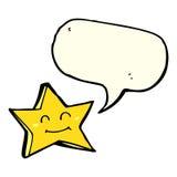 ευτυχής χαρακτήρας αστεριών κινούμενων σχεδίων με τη λεκτική φυσαλίδα Στοκ εικόνες με δικαίωμα ελεύθερης χρήσης