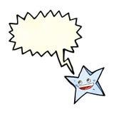 ευτυχής χαρακτήρας αστεριών κινούμενων σχεδίων με τη λεκτική φυσαλίδα Στοκ Φωτογραφία
