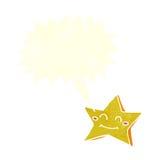 ευτυχής χαρακτήρας αστεριών κινούμενων σχεδίων με τη λεκτική φυσαλίδα Στοκ Εικόνες