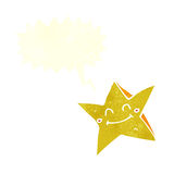 ευτυχής χαρακτήρας αστεριών κινούμενων σχεδίων με τη λεκτική φυσαλίδα Στοκ φωτογραφίες με δικαίωμα ελεύθερης χρήσης