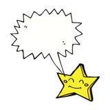 ευτυχής χαρακτήρας αστεριών κινούμενων σχεδίων με τη λεκτική φυσαλίδα Στοκ Φωτογραφίες