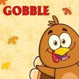 Ευτυχής χαρακτήρας κινουμένων σχεδίων πουλιών της Τουρκίας διανυσματική απεικόνιση