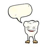 ευτυχής χαρακτήρας δοντιών κινούμενων σχεδίων με τη λεκτική φυσαλίδα Στοκ Εικόνες