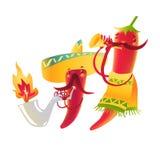 Ευτυχής χαρακτήρας πιπεριών τσίλι στο σομπρέρο που παίζει τα μεξικάνικα maracas Στοκ Φωτογραφία