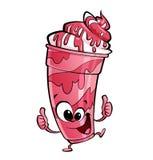 Ευτυχής χαρακτήρας φραουλών κινούμενων σχεδίων milkshake που αποτελεί τους αντίχειρες Στοκ Φωτογραφία