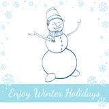 Ευτυχής χειμερινός χιονάνθρωπος που απομονώνεται στο άσπρο υπόβαθρο Στοκ Φωτογραφία