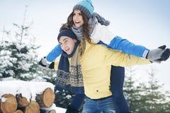 ευτυχής χειμώνας ζευγών Στοκ εικόνα με δικαίωμα ελεύθερης χρήσης