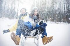 ευτυχής χειμώνας ζευγών Στοκ Φωτογραφία
