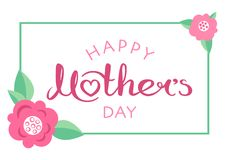 Ευτυχής χειρόγραφη επιγραφή ημέρας μητέρων ` s Στοκ εικόνα με δικαίωμα ελεύθερης χρήσης