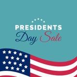 Ευτυχής χειρόγραφη φράση Προέδρων Day Sale στο διάνυσμα Εθνική αμερικανική απεικόνιση διακοπών με την ΑΜΕΡΙΚΑΝΙΚΗ σημαία απεικόνιση αποθεμάτων