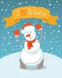 Ευτυχής χιονάνθρωπος με μια κορδέλλα Στοκ φωτογραφίες με δικαίωμα ελεύθερης χρήσης