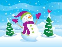 Ευτυχής χιονάνθρωπος με τα όπλα επάνω Στοκ Φωτογραφία