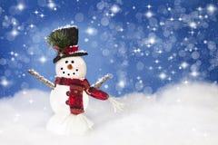 ευτυχής χιονάνθρωπος Χρ&io Στοκ φωτογραφία με δικαίωμα ελεύθερης χρήσης