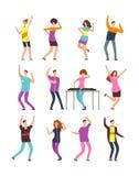 Ευτυχής χορός νέων Χορευτές κινούμενων σχεδίων ανδρών και γυναικών που απομονώνονται στο άσπρο υπόβαθρο ελεύθερη απεικόνιση δικαιώματος