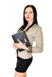 Ευτυχής όμορφη γυναίκα που χρησιμοποιεί το lap-top Στοκ φωτογραφία με δικαίωμα ελεύθερης χρήσης