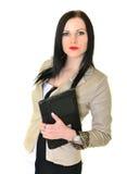 Ευτυχής όμορφη γυναίκα που χρησιμοποιεί το lap-top Στοκ Εικόνα