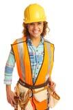 Ευτυχής όμορφος θηλυκός εργάτης οικοδομών Στοκ Εικόνες