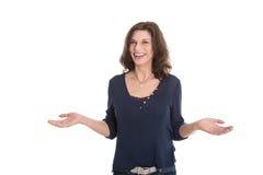 Ευτυχής ώριμη απομονωμένη γυναίκα - αλλαγή της ζωής στοκ εικόνα