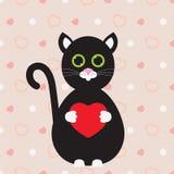 ευτυχής s βαλεντίνος ημέρ&alp Χαριτωμένη και γάτα αγάπης με μια καρδιά στα πόδια στοκ φωτογραφία με δικαίωμα ελεύθερης χρήσης