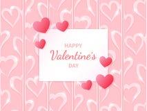 ευτυχής s βαλεντίνος ημέρ&alp Ευχετήρια κάρτα με τις καρδιές στο αφηρημένο υπόβαθρο καρδιών Στοκ Εικόνες