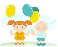 Ευτυχή αγόρι και κορίτσι με τα μπαλόνια παιχνιδιών απεικόνιση αποθεμάτων