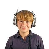 ευτυχή ακουστικά αγορ&iot Στοκ Φωτογραφία