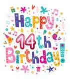 Ευτυχή 14α γενέθλια ελεύθερη απεικόνιση δικαιώματος