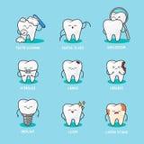 Ευτυχή δόντια καθορισμένα Χαριτωμένοι χαρακτήρες δοντιών Οδοντική διανυσματική απεικόνιση προσωπικοτήτων απεικόνιση αποθεμάτων