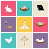 Ευτυχή εικονίδια απεικόνισης Πάσχας διανυσματικά καθορισμένα Σχέδιο Στοκ φωτογραφίες με δικαίωμα ελεύθερης χρήσης