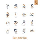 Ευτυχή εικονίδια ημέρας μητέρων Στοκ Φωτογραφία