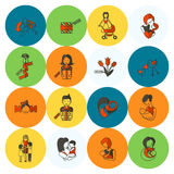 Ευτυχή εικονίδια ημέρας μητέρων Στοκ φωτογραφίες με δικαίωμα ελεύθερης χρήσης