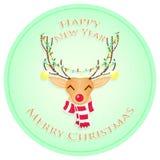 Ευτυχή ελάφια Χριστουγέννων Χαρούμενα Χριστούγεννα και καλή χρονιά επίσης corel σύρετε το διάνυσμα απεικόνισης στοκ εικόνες