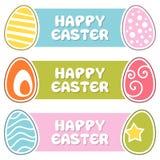 Ευτυχή εμβλήματα Πάσχας με τα αναδρομικά αυγά διανυσματική απεικόνιση
