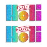 Ευτυχή εμβλήματα Holi και πώλησης Holi Στοκ φωτογραφία με δικαίωμα ελεύθερης χρήσης