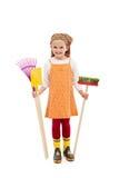 ευτυχή εργαλεία άνοιξη κοριτσιών κηπουρικής Στοκ φωτογραφίες με δικαίωμα ελεύθερης χρήσης