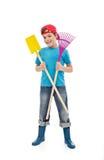 ευτυχή εργαλεία κηπουρικής αγοριών Στοκ Εικόνες