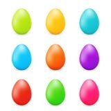 Ευτυχή ζωηρόχρωμα αυγά Πάσχας καθορισμένα Στοκ Εικόνες