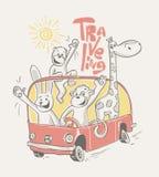 Ευτυχή ζώα που ταξιδεύουν στο λεωφορείο επίσης corel σύρετε το διάνυσμα απεικόνισης Στοκ Εικόνες